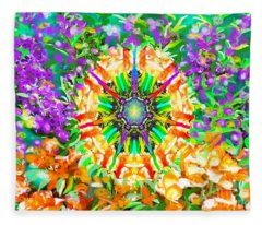 Flowers Mandala Fleece Blanket