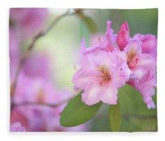 Flowers Of Pink Rhododendron Fleece Blanket
