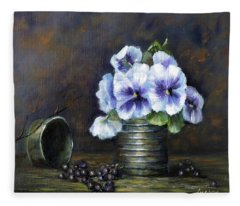 Flowers,pansies Still Life Fleece Blanket