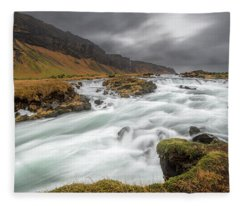 Fleece Blanket featuring the photograph Flowing Water And Dark Clouds by Pradeep Raja PRINTS