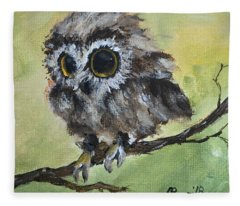 Fluffy Owl Chick Fleece Blanket