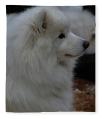 Fluffy Snow Dog Fleece Blanket
