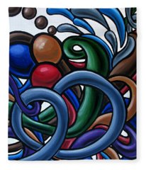Colorful Abstract Art Painting Chromatic Water Artwork Fleece Blanket