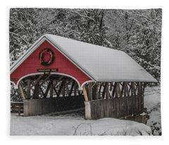 Flume Covered Bridge In Winter Fleece Blanket