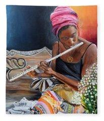 Flute Player Fleece Blanket