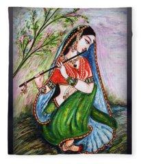 Flute Playing In - Krishna Devotion  Fleece Blanket