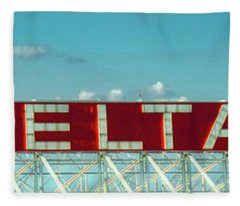 Fly Delta Jets Signage Hartsfield Jackson International Airport Atlanta Georgia Art Fleece Blanket