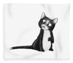 Fly On Cat Fleece Blanket