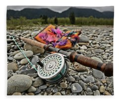 Fly Rod And Streamers Landscape Fleece Blanket