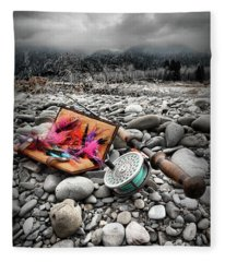 Fly Rod And Streamers Portrait Fleece Blanket