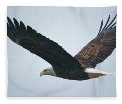 Flying Bald Eagle Fleece Blanket