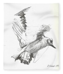 Flying Bird Sketch Fleece Blanket