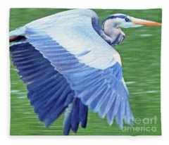Flying Great Blue Heron Fleece Blanket