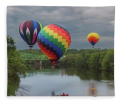 Flying Over The Androscoggin Fleece Blanket
