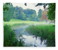 Fog Along A Creek In Autumn Fleece Blanket