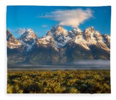 Fog At The Tetons Fleece Blanket