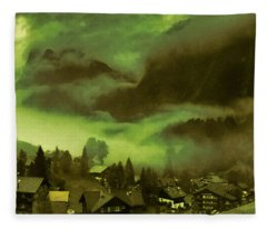 Fog Over The Village Fleece Blanket