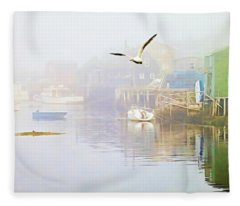 Fog Over West Dover - Digital Paint Fleece Blanket