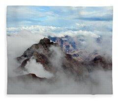 Fog Shrouded Vishnu Temple  Fleece Blanket
