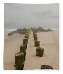 Fog Sits On Bay Head Beach - Jersey Shore Fleece Blanket