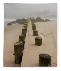 Fog Sits On Bay Head Beach - Jersey Shore Fleece Blanket
