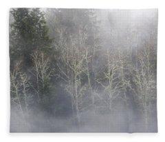 Foggy Alders In The Forest Fleece Blanket