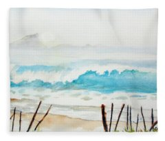 Foggy Beach Fleece Blanket