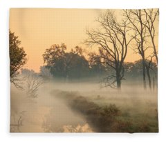 Foggy Fall Morning On Gary Avenue Fleece Blanket