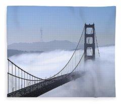 Foggy Golden Gate Bridge Fleece Blanket