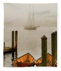 Foggy Morning In Gloucester Ma Fleece Blanket