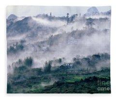 Foggy Mountain Of Sa Pa In Vietnam Fleece Blanket