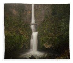 Foggy Multnomah Falls Fleece Blanket