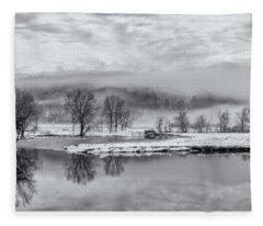 Foggy Retreat Meadows In Black And White Fleece Blanket