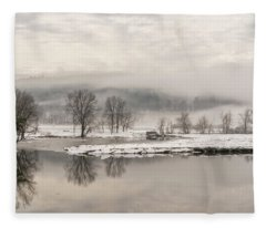 Foggy Retreat Meadows Fleece Blanket
