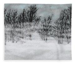 Foggy Snow Day Fleece Blanket