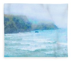 Foggy Surf Fleece Blanket