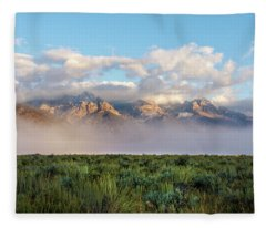 Foggy Teton Sunrise - Grand Tetons National Park Wyoming Fleece Blanket