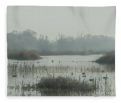Foggy Wetlands Fleece Blanket