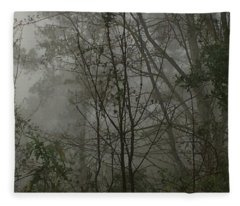 Foggy Woods Photo  Fleece Blanket