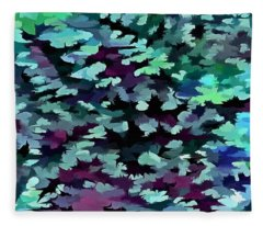 Foliage Abstract Pop Art In Teal, Blue And Green Fleece Blanket