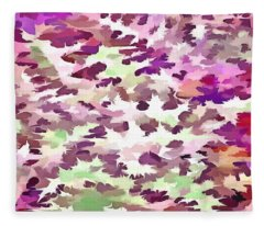 Foliage Abstract Pop Art In Ultra Violet And Fuchsia Pink Fleece Blanket