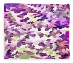 Foliage Abstract Pop Art In Ultraviolet Purple And Lilac Fleece Blanket