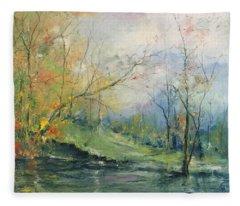 Foliage Flames On The River Fleece Blanket