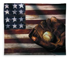 Folk Art American Flag And Baseball Mitt Fleece Blanket