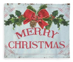 Folk Merry Christmas Fleece Blanket