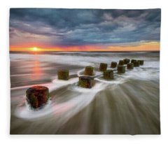 Folly Beach Charleston Sc South Carolina Sunrise Seascape Fleece Blanket
