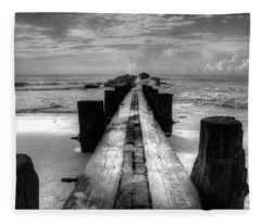 Folly Beach Pilings Charleston South Carolina In Black And White  Fleece Blanket