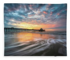 Folly Beach Sc Ocean Seascape Charleston South Carolina Scenic Landscape Fleece Blanket