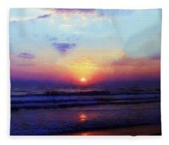 Folly Beach South Carolina Sunrise Fleece Blanket