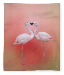 Fond Flamingos Fleece Blanket
